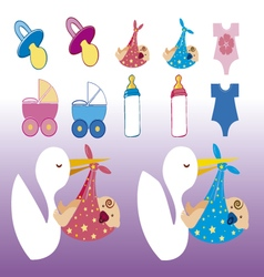 clip images baby shower girl and boy vector image
