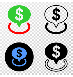 Collage gradiented dotted dollar placement and vector