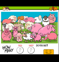 counting pigs and sheep educational game for kids vector image