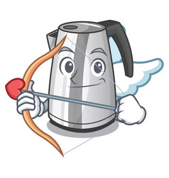 Cupid electric stainless steel kettle on character vector