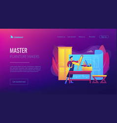 Custom furniture concept landing page vector