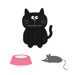 Cute black cat with mouse and plate Flat design vector