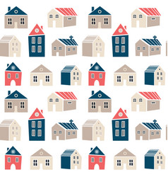 cute seamless pattern with houses in scandinavian vector image