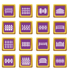 different fencing icons set purple square vector image