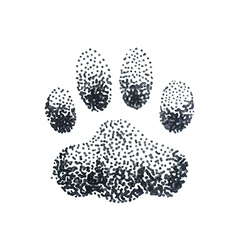Doodle halftone with dog paw print vector