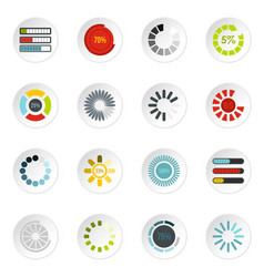 download progress bar icons set flat style vector image