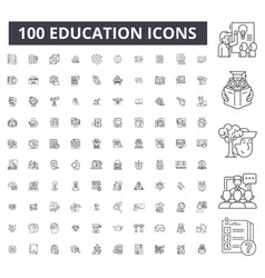 education editable line icons 100 set vector image
