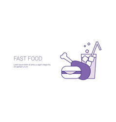 fast food concept template web banner with copy vector image