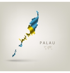 Flag of PALAU as a country with a shadow vector