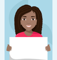 Flat a black woman with a placard in her hands vector