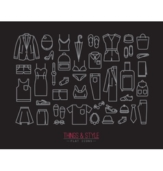 Flat clothes icons black vector image