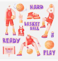 flat set basketball - basketball players vector image
