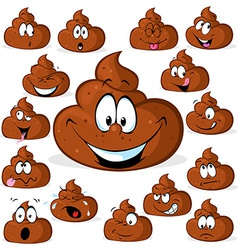 funny poo with many expressions isolated on white vector image