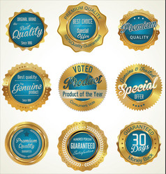 Gold and blue premium quality labels vector