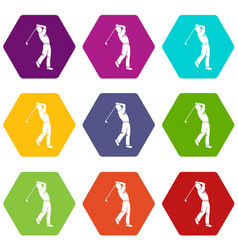 golf player icon set color hexahedron vector image
