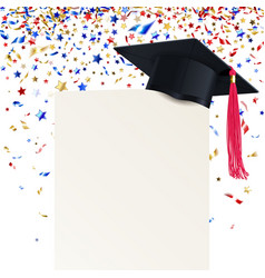 graduate cap and diploma with multicolored vector image