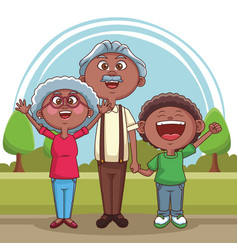 grandparents and kids vector image