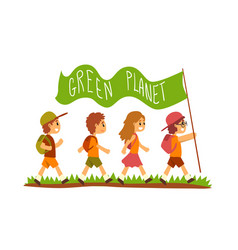 green planet and kids save planet ecology vector image