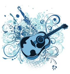 Guitar with floral and grunge vector