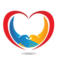 Handshake and heart icon vector