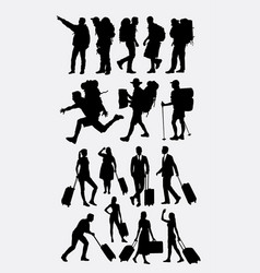 hiking and traveling silhouette vector image