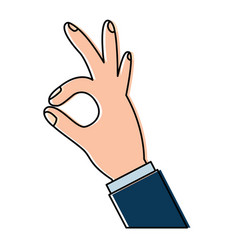 human hand showing ok fingers symbol vector image
