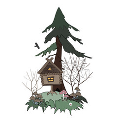 hut on chicken legs goes in foggy swamp forest vector image
