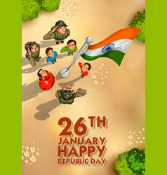 indian people saluting flag of india with pride on vector image