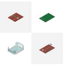 Isometric competition set of ice games volleyball vector