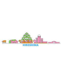 Japan hiroshima line cityscape flat vector