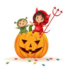 Kids sitting on halloween pumpkin vector