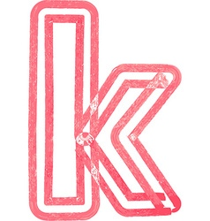 Lowercase letter k drawing with Red Marker vector