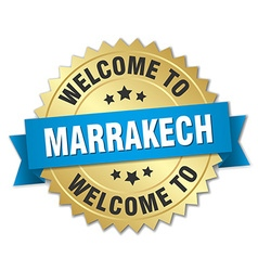 Marrakech 3d gold badge with blue ribbon vector