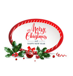 merry christmas red frame vector image