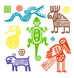 Mexican culture primitive tribal signs vector