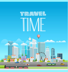 modern cityscape with different transport city vector image
