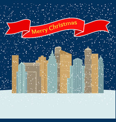 night city with falling snow and a red ribbon vector image