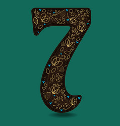 Number seven with vintage golden floral decor vector