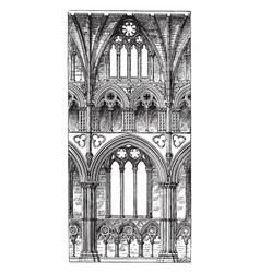 one bay length of a building vintage engraving vector image