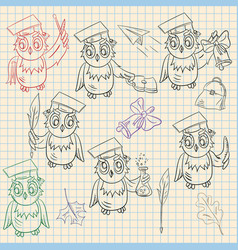 Outline sketch on school theme bird owl holding a vector