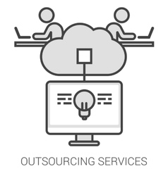 Outsourcing services line infographic vector image