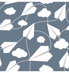 Paper Planes in Clouds Seamless Pattern vector image