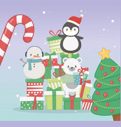 penguin bear and snowman with gifts celebration vector image