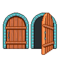 pixel open closed door detailed isolated vector image