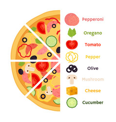 pizza ingredients cartoon flat style vector image