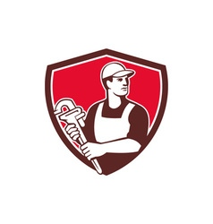 Plumber Wielding Monkey Wrench Shield Retro vector image