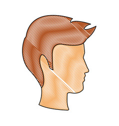 Profile man head character hairstyle vector