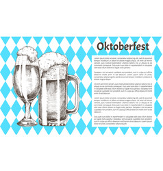 Refreshment drink glass oktoberfest promo poster vector