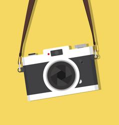 Retro hanging vintage camera with strap vector