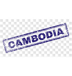 Scratched cambodia rectangle stamp vector